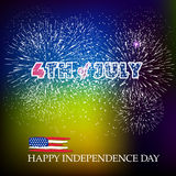 Happy 4th July independence day  with fireworks bacground Stock Image