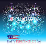 Happy 4th July independence day  with fireworks bacground Royalty Free Stock Image