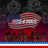 Happy 4th July independence day with fireworks background. Happy 4th July independence day with fireworks vector illustration