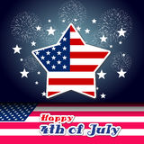 Happy 4th July independence day with fireworks background Stock Photos