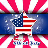 Happy 4th July independence day with fireworks background Stock Photography