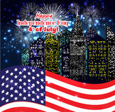 Happy 4th July independence day with fireworks background.  stock illustration