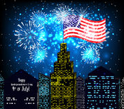 Happy 4th July independence day with fireworks background Royalty Free Stock Image