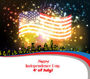 Happy 4th July independence day with fireworks background.  vector illustration