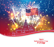 Happy 4th July independence day with fireworks background Stock Images