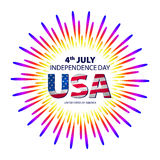 Happy 4th July independence day with fireworks background. vector. Art Royalty Free Stock Photos