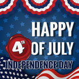 Happy 4th OF JULY INDEPENDENCE DAY. Greeting Card Design Stock Illustration