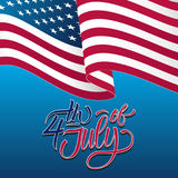 Happy 4th of July Independence Day greeting card with waving american national flag and handwritten lettering text design. Vector illustration Royalty Free Stock Image