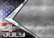 Happy 4th of July Independence Day. Grunge metallic background with US flag, space for text and phrase: Happy 4th of July - Independence Day Royalty Free Illustration