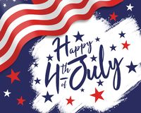 Happy FOurth of JUly, Independence day illustration with greeting stock photography