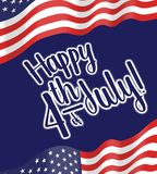 Happy FOurth of JUly, Independence day illustration with greeting stock photo