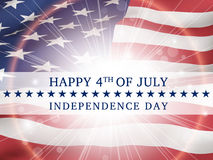 Happy 4th of july, independence day - poster with the flag of th. Happy 4th of july, independence day - poster with the flying flag of the USA  with glow Royalty Free Stock Image
