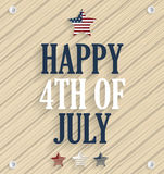 Happy 4th of July. Independence day poster. Wooden background Royalty Free Stock Images