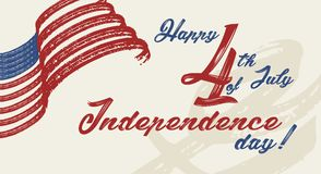 Happy 4th of July - Independence Day of United States of America. Greeting card design vector illustration Stock Photos