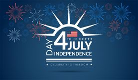 Happy 4th of July Independence Day USA blue background with the. United States flag and 4th of July typography - vector illustration stock illustration