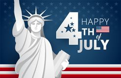 Happy 4th of July Independence Day USA blue background vector i. Happy 4th of July Independence Day USA blue background with the United States flag. 4th of July royalty free illustration