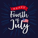 Happy 4th of July, Independence Day of USA, lettering and blue beams background Royalty Free Stock Images