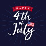 Happy 4th of July, Independence Day of USA lettering design Stock Photo