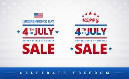 Happy 4th of July Independence Day USA sale banner or logo with. American flag - vector illustration for 4th of July Celebrate freedom event stock illustration