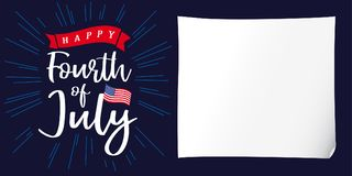 Happy 4th of July, Independence Day of USA, white paper and lettering poster Royalty Free Stock Photos