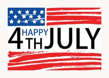 Happy 4th of July inscription written on American national flag. United States of America Independence Day lettering. Isolated on white background. Colored hand royalty free illustration