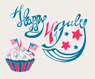 Happy 4th of July Lettering. With cupcake and flags vector illustration