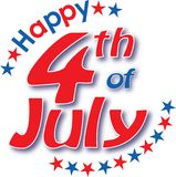 Happy 4th of July Logo with Stars. In Red, white, and blue Stock Photo
