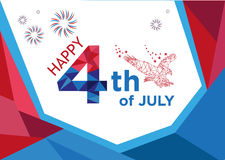 Happy 4th of July Low Poly art style. Editable Clip Art. Line Art image of an Eagle with Happy 4th of July text greeting and firework effects vector illustration