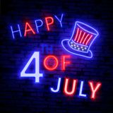 Happy 4th of July neon sign, bright signboard, light banner. Independence Day logo, emblem. July Fourth label. Vector illustration. Happy 4th of July neon sign Stock Photography