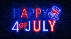 Happy 4th of July neon sign, bright signboard, light banner. Independence Day logo, emblem. July Fourth label. Vector illustration. Happy 4th of July neon sign Stock Photo