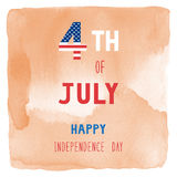 Happy 4th of July on orange watercolor background Stock Photos
