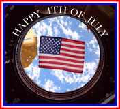 Happy 4th of july from outer space Stock Images