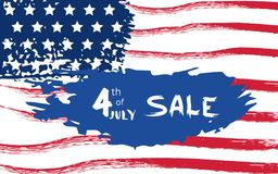 Happy Independence Day Sale. Vector illustration. Happy 4th of July Sale horizontal banner. Independence Day linear card. National USA flag. Template for Royalty Free Stock Image