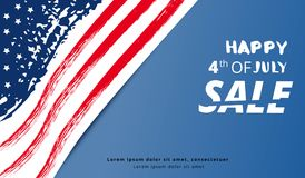 Happy Independence Day Sale. Vector illustration. Happy of 4th of July  Sale lettering. Independence Day horizontal banner. National flag card with text Royalty Free Stock Images