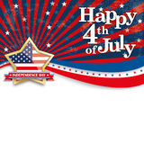 Happy 4th July Stars US Stripes Golden Star. Independence day retro flyer with golden star Stock Photo