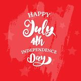 Happy 4th of July. The trend calligraphy. Excellent gift card to the day of Independence. American flag. Vector illustration on white background stock illustration