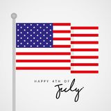 Happy 4th of July, United State Independence Day Greeting with Flag Vector. Happy 4th of July, United State Independence Day Greeting Flag Vector Royalty Free Stock Photo