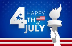 Happy 4th of July United States greeting card with the USA flag,. July 4th typography and statue of liberty flames illustration - vector holiday background Royalty Free Stock Image