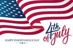 Happy 4th of July United States Independence Day celebrate banner with waving american national flag and hand lettering text.