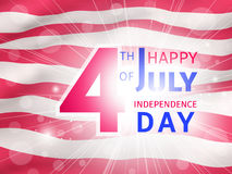 Happy 4th of July, US Independence Day - greeting poster. Happy 4th of July, US Independence Day - congratulation with a glow over a part of the American flag Royalty Free Stock Photos