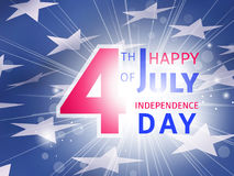 Happy 4th of July US Independence Day - greeting poster. With flash inscription over the blue part of the American flag with the stars Stock Images