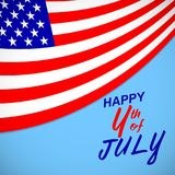 Happy 4th of July. USA independence day background with american flag and lettering. Vector EPS 10. Happy 4th of July. USA independence day background with Royalty Free Stock Photo