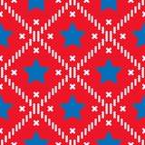 Happy 4th of July, USA Independence Day background. Vector seamless flag pattern, blue star and red stripes. Abstract design vector illustration