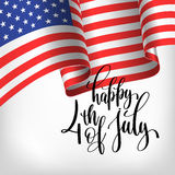 Happy 4th of july USA independence day banner with american flag. And hand lettering, greeting card design, vector illustration Stock Photography