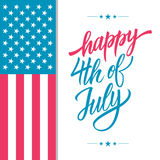 Happy 4th of July USA Independence Day greeting card with american national flag and hand lettering text design. Royalty Free Stock Images