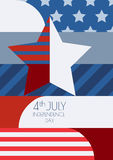 Happy 4th of July, USA Independence Day, vector greeting card. M. Ulticolor star and flag, creative color blocking background. Abstract design concept for Royalty Free Stock Image