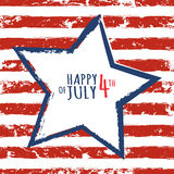 Happy 4th of July, USA Independence Day. Watercolor blue star on. Seamless grunge stripe vector background. Abstract design concept for greeting card, banner Royalty Free Stock Images