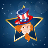 Happy 4th of July Vector Art. Cartoon Young Uncle Sam Character on Golden Star Vector Illustration royalty free illustration