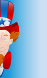 Happy 4th of July Vector Card. Happy Cartoon Uncle Sam Face with 4th of July Vector Card Stock Photo