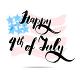 Happy 4th of july vector lettering on USA flag. Red and blue. Independence day, memory day concept, vector illustration Royalty Free Stock Photography